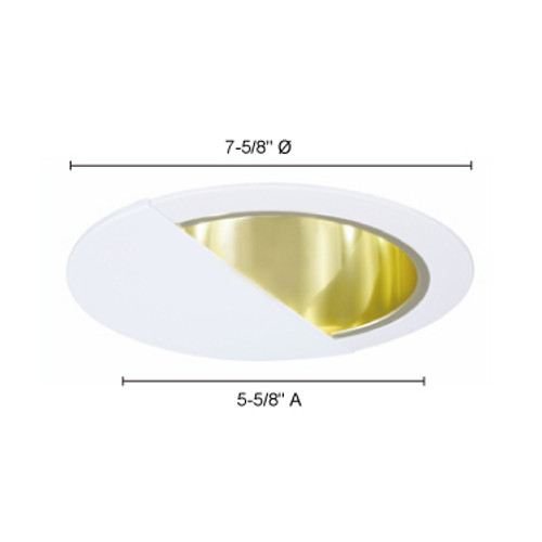 """JESCO Lighting TM630PBWH 6"""" Line Voltage Wall Wash with Reflector, Polished Brass Reflector, White Trim"""