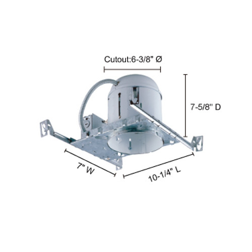 """JESCO Lighting RS6000BA 6"""" Line Voltage Non-IC Airtight Universal Housing for new construction"""
