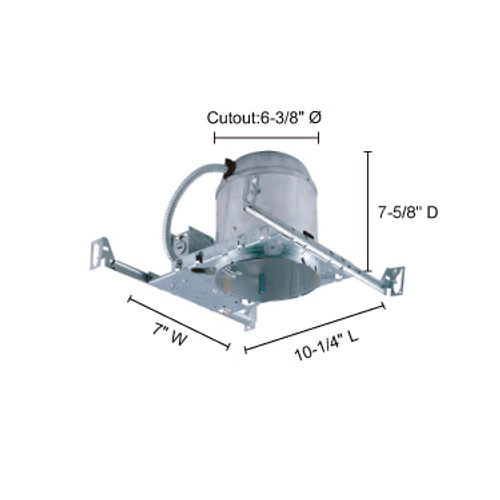 """JESCO Lighting RS6000BICA 6"""" Line Voltage IC Airtight IC Housing for new construction"""