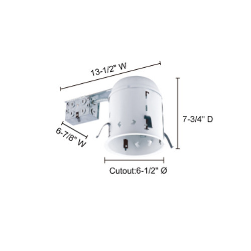 """JESCO Lighting RS6000R 6"""" Line Voltage Non-IC Housing for Remodelling"""