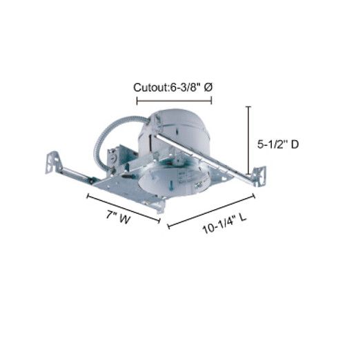 """JESCO Lighting RS6000S 6"""" Line Voltage Non-IC Shallow Housing for new construction"""