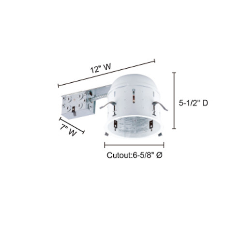 """JESCO Lighting RS6000SR 6"""" Line Voltage Non-IC Shallow Housing for Remodelling"""