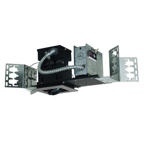 JESCO Lighting MMG1650-1ESB 1-Light Linear New Construction (Low Voltage), Silver Trim, Black Gimbal, Black Interior