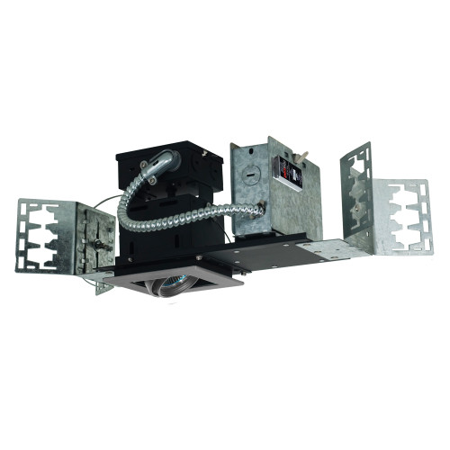 JESCO Lighting MMG1650-1ESS 1-Light Linear New Construction (Low Voltage), Silver Trim, Silver Gimbal, Black Interior