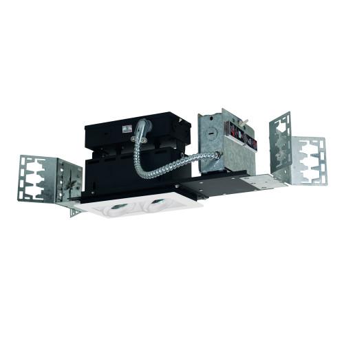 JESCO Lighting MMG1650-2EAW 2-Light Linear New Construction (Low Voltage), White Trim, White Gimbal, White Interior