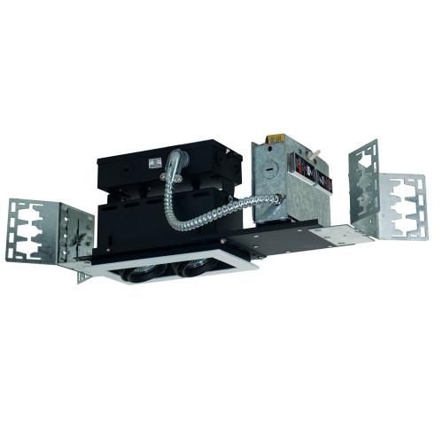 JESCO Lighting MMG1650-2EWB 2-Light Linear New Construction (Low Voltage), White Trim, Black Gimbal, Black Interior