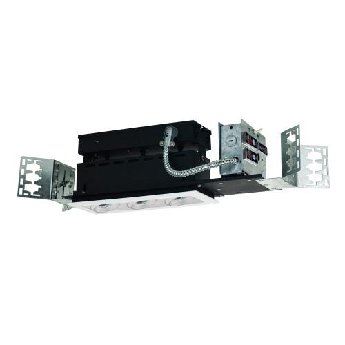 JESCO Lighting MMG1650-3EAW 3-Light Linear New Construction (Low Voltage), White Trim, White Gimbal, White Interior