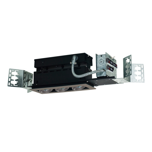 JESCO Lighting MMG1650-3ESS 3-Light Linear New Construction (Low Voltage), Silver Trim, Silver Gimbal, Black Interior