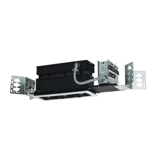 JESCO Lighting MMG1650-3EWB 3-Light Linear New Construction (Low Voltage), White Trim, Black Gimbal, Black Interior