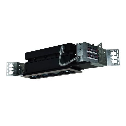 JESCO Lighting MMG1650-4ESB 4-Light Linear New Construction (Low Voltage), Silver Trim, Black Gimbal, Black Interior