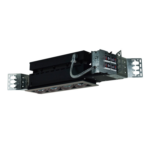 JESCO Lighting MMG1650-4ESS 4-Light Linear New Construction (Low Voltage), Silver Trim, Silver Gimbal, Black Interior