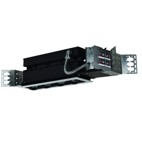 JESCO Lighting MMG1650-4EWB 4-Light Linear New Construction (Low Voltage), White Trim, Black Gimbal, Black Interior