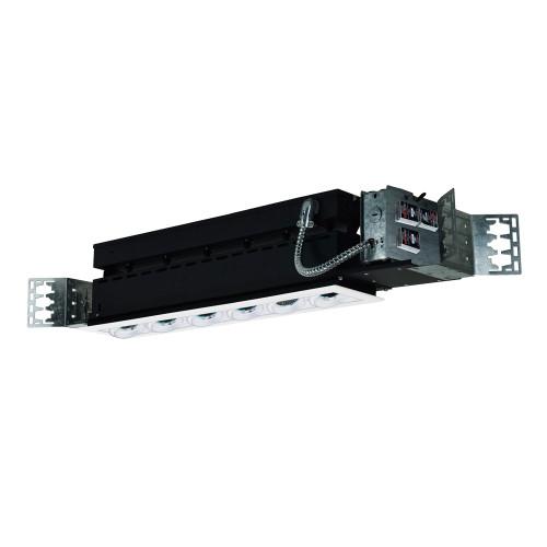 JESCO Lighting MMG1650-6EAW 6-Light Linear New Construction (Low Voltage), White Trim, White Gimbal, White Interior