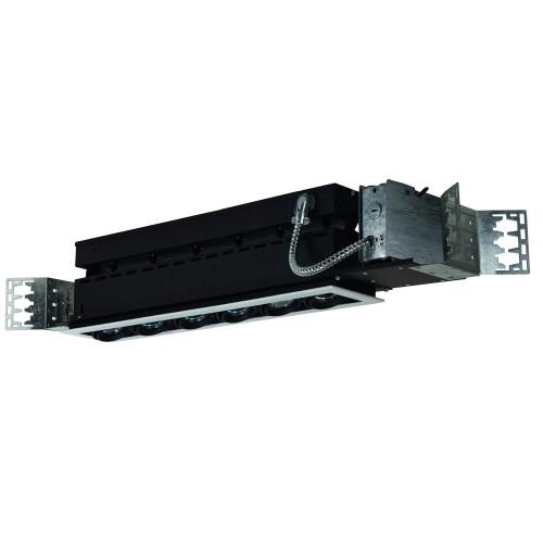 JESCO Lighting MMG1650-6EWB 6-Light Linear New Construction (Low Voltage), White Trim, Black Gimbal, Black Interior