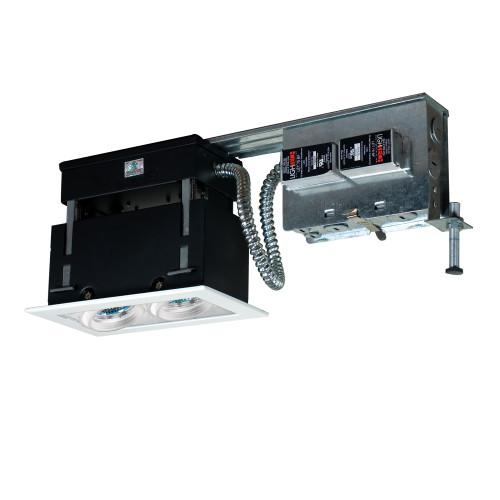 JESCO Lighting MMGR1650-2EAW 2-Light Linear Remodel (Low Voltage), White Trim, White Gimbal, White Interior