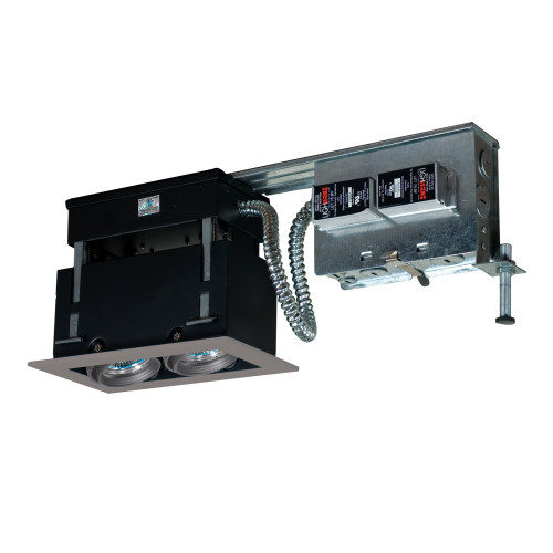 JESCO Lighting MMGR1650-2ESS 2-Light Linear Remodel (Low Voltage), Silver Trim, Silver Gimbal, Black Interior
