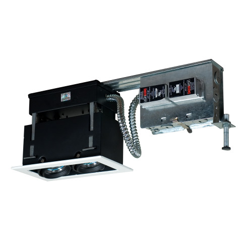 JESCO Lighting MMGR1650-2EWB 2-Light Linear Remodel (Low Voltage), White Trim, Black Gimbal, Black Interior