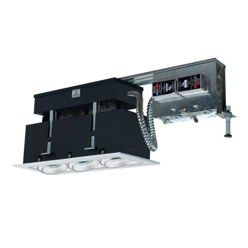 JESCO Lighting MMGR1650-3EAW 3-Light Linear Remodel (Low Voltage), White Trim, White Gimbal, White Interior