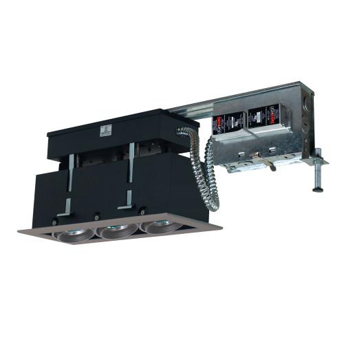 JESCO Lighting MMGR1650-3ESS 3-Light Linear Remodel (Low Voltage), Silver Trim, Silver Gimbal, Black Interior