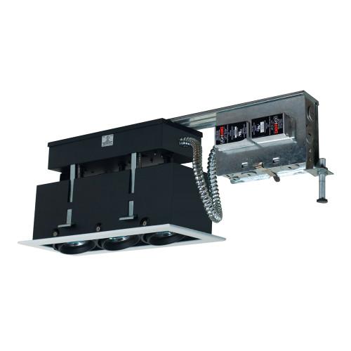 JESCO Lighting MMGR1650-3EWB 3-Light Linear Remodel (Low Voltage), White Trim, Black Gimbal, Black Interior