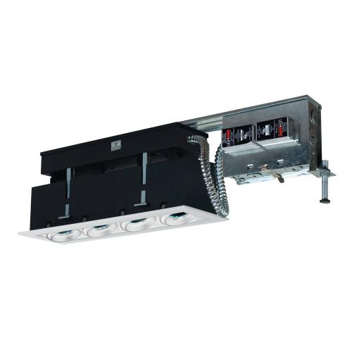 JESCO Lighting MMGR1650-4EAW 4-Light Linear Remodel (Low Voltage), White Trim, White Gimbal, White Interior