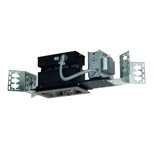 JESCO Lighting MMGMH1639-2ESS 2-Light Linear New Construction (Metal Halide), Silver Trim, Silver Gimbal, Black Interior