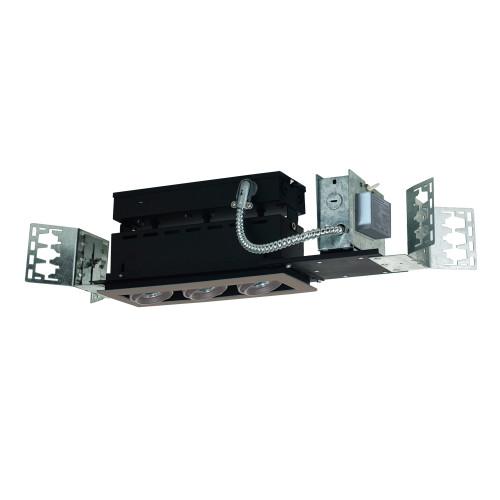 JESCO Lighting MMGMH1639-3ESS 3-Light Linear New Construction (Metal Halide), Silver Trim, Silver Gimbal, Black Interior