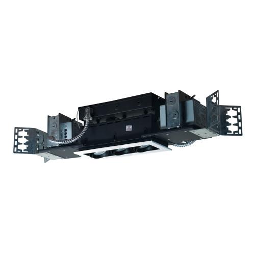 JESCO Lighting MMGMH1639-3EWB 3-Light Linear New Construction (Metal Halide), White Trim, Black Gimbal, Black Interior