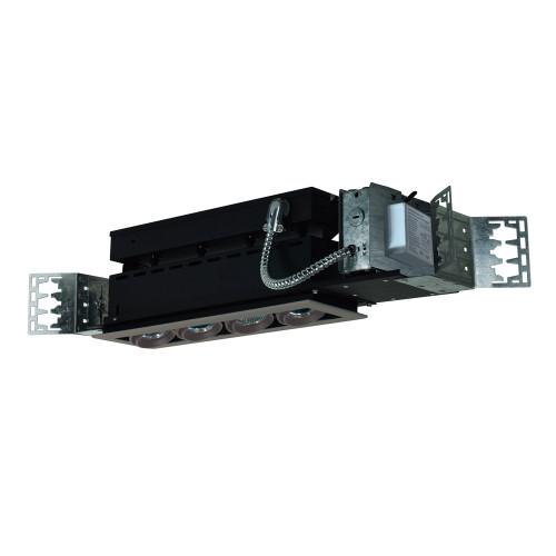 JESCO Lighting MMGMH1639-4ESS 4-Light Linear New Construction (Metal Halide), Silver Trim, Silver Gimbal, Black Interior