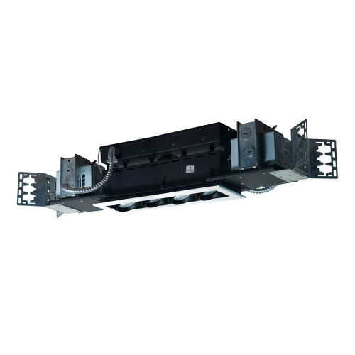 JESCO Lighting MMGMH1639-4EWB 4-Light Linear New Construction (Metal Halide), White Trim, Black Gimbal, Black Interior