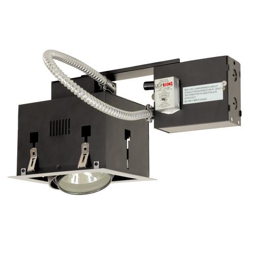 JESCO Lighting MGRA175-1ESB One-Light Double Gimbal Recessed Fixture Low Voltage, Silver Trim/Black Gimbal/Black Interior