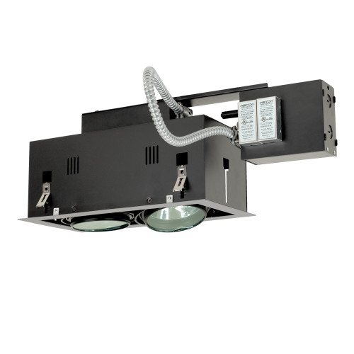 JESCO Lighting MGRA175-2ESB Two-Light Double Gimbal Linear Recessed Fixture Low Voltage, Silver Trim/Black Gimbal/Black Interior