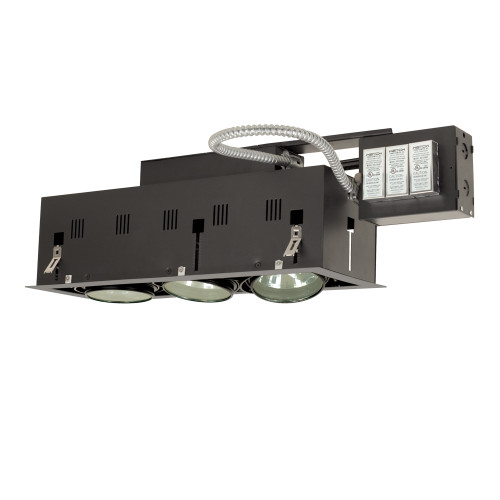 JESCO Lighting MGRA175-3ESB Three-Light Double Gimbal Linear Recessed Fixture Low Voltage, Silver Trim/Black Gimbal/Black Interior