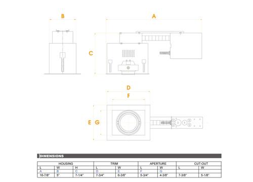 JESCO Lighting MGRP20-1WB One-Light Double Gimbal Recessed Fixture Line Voltage , White Trim/Black Gimbal/Black Interior