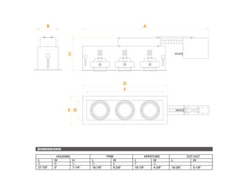 JESCO Lighting MGRP20-3WB Three-Light Double Gimbal Linear Recessed Fixture Line Voltage , White Trim/Black Gimbal/Black Interior