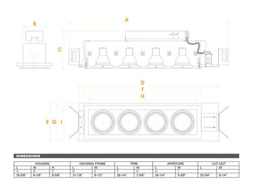 JESCO Lighting MGP30-4SB Four-Light Double Gimbal Linear Recessed Line Voltage Fixture, Silver Trim/Black Gimbal/Black Interior
