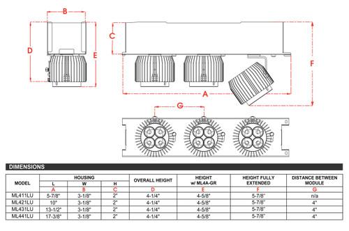 JESCO Lighting ML431LU101230B 3-Light Linear 120V LED Unit, Black with Black heat sink, 3000K