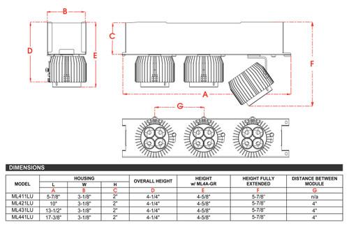 JESCO Lighting ML431LU104030B 3-Light Linear 120V LED Unit, Black with Black heat sink, 3000K