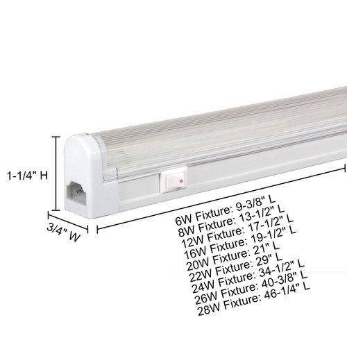 JESCO Lighting SG4-8/BK-W Sleek Plus Grounded 8W T4 Bi-Pin Linear Fluorescent , Black , White
