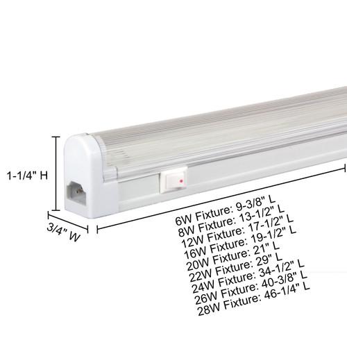 JESCO Lighting SG4-20/BK-W Sleek Plus Grounded 20W T4 Bi-Pin Linear Fluorescent, Black , White