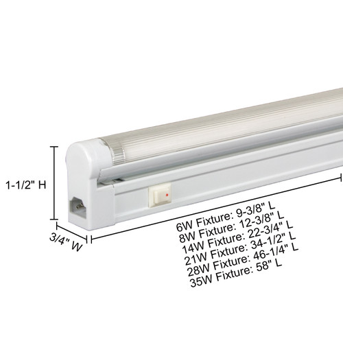 JESCO Lighting SG5-6/41-W Sleek Plus Grounded 6W T5 Bi-Pin Linear Fluorescent, 4100K, White
