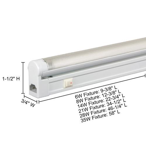 JESCO Lighting SG5-8/64-W Sleek Plus Grounded 8W T5 Bi-Pin Linear Fluorescent, 6400K, White