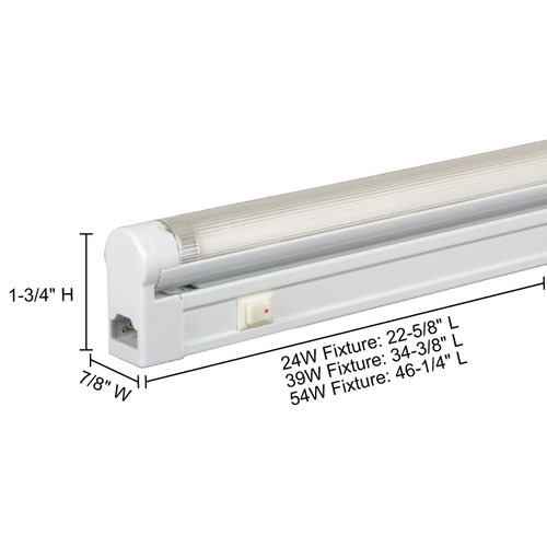 JESCO Lighting SG5HO-24/30-W Sleek Plus Grounded 24W T5 Bi-Pin Linear Fluorescent, 3000K, White
