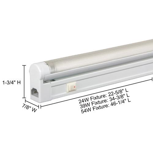 JESCO Lighting SG5HO-24/64-W Sleek Plus Grounded 24W T5 Bi-Pin Linear Fluorescent, 6400K, White