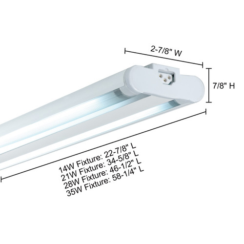 JESCO Lighting SG5AT-35/64-WH Sleek Plus Grounded 35w T5 Bi-Pin Linear Fluor, 6400K, White