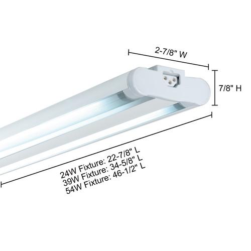 JESCO Lighting SG5ATHO-24/64-S Sleek Plus Grounded 24W T5 Bi-Pin Linear Fluorescent, 6400K, Silver