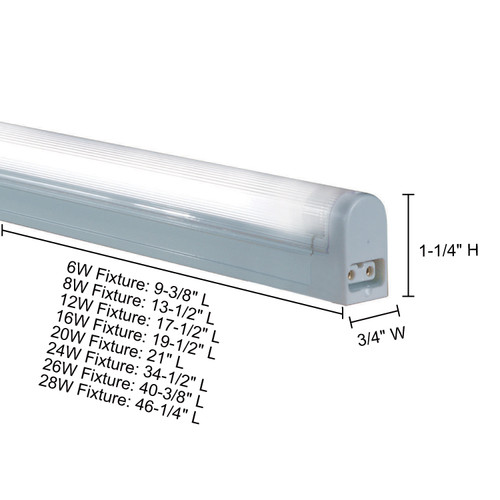 JESCO Lighting SP4-8/BU-W Sleek Plus Non-Grounded 8W T4 Bi-Pin Linear Fluorescent , Blue, White