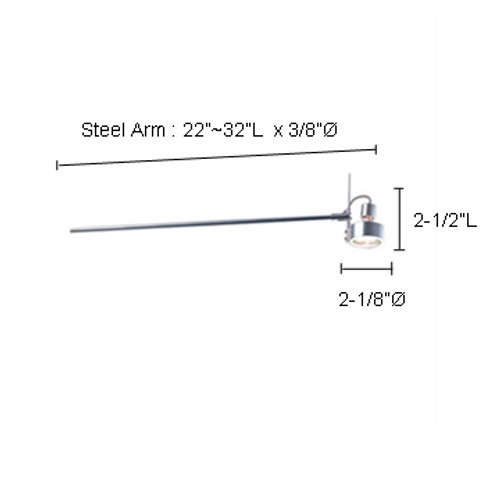 """JESCO Lighting ALFP135-BKBK ARCLIGHTS Low Voltage Series 135 with Periscope from 22""""-32"""". Fixed Mount, Black Spot with Black Periscope or Steel Arm"""
