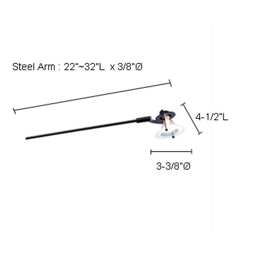 """JESCO Lighting ALFP149-BKBK ARCLIGHTS Low Voltage Series 149 with Periscope from 22""""-32"""". Fixed Mount, Black Spot with Black Periscope or Steel Arm"""