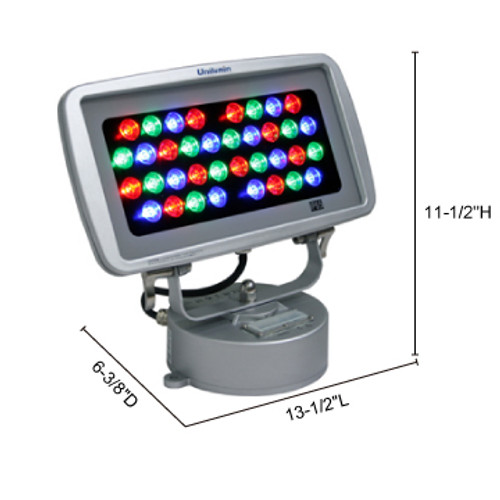 JESCO Lighting WWB1436PP30RGBA 40W Max Plug & Play WWB Series Outdoor LED Wall Washer. Mounting: Steel baseplate with integral 24V DC 350mA power supply , A - Aluminum (Consult Minimum 50 units), RGRGB Color Changing